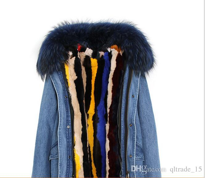 Black raccoon fur trim JAZZEVAR brand multicolour stripe rabbit fur lining demin blue mini women parkas