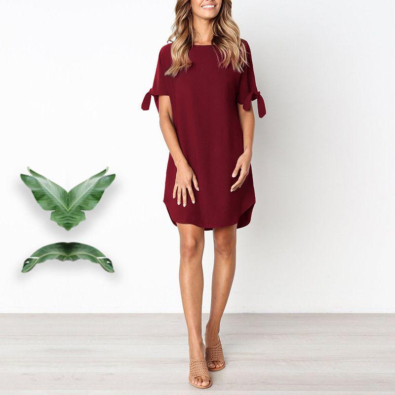 ebf96f4ffabc Summer Dress 2019 Short Sleeve Lace Up Solid Color Mini Dress For Women  Cold Shoulder Round Neck Irregular Work Dress Vestidos Lace Summer Dresses  Evening ...