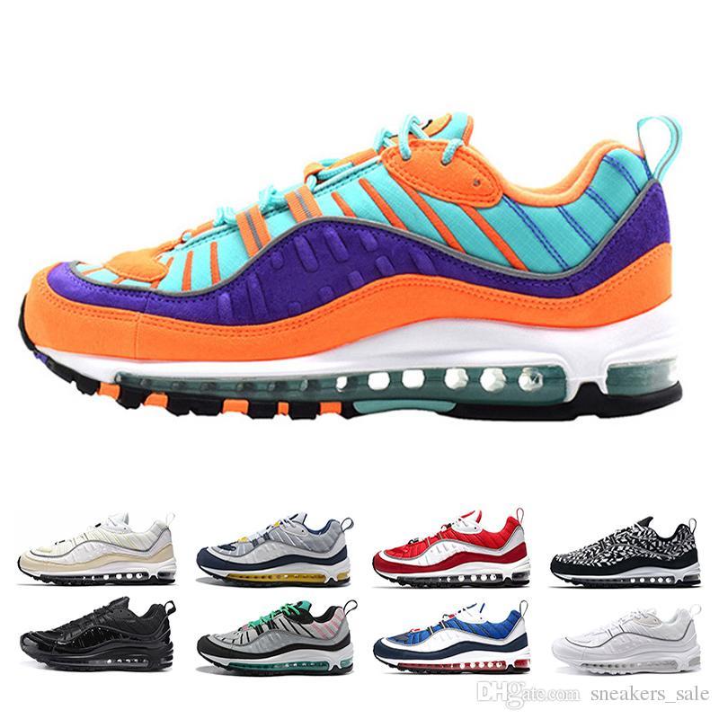 sports shoes f3a0d 73abf Nike Air Max 98 Nuevo 98 Hombres Zapatillas De Deporte Para Mujeres Cone  South Beach Racer Azul Triple Negro Blanco Uk GMT Gym Rojo Gundam  Zapatillas De ...