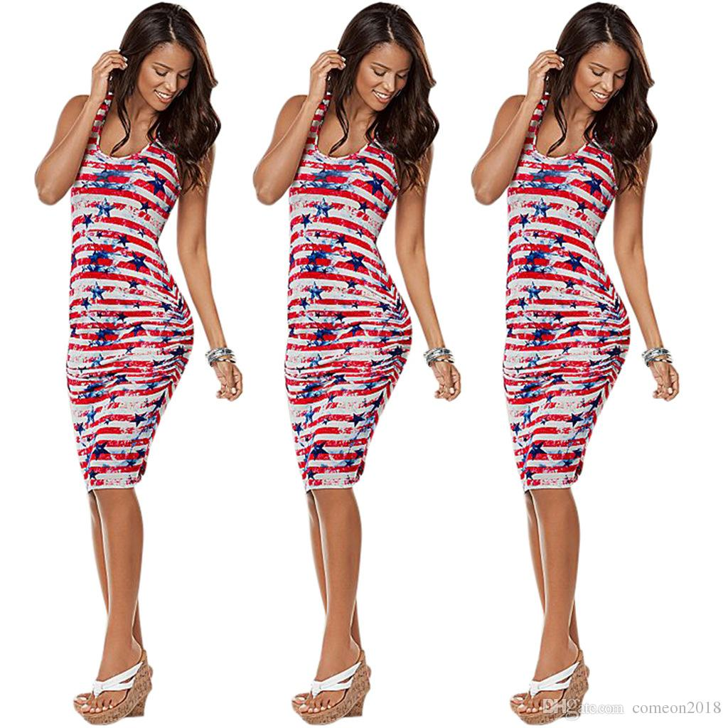 a8f77168612 Sexy Stripe Stars Summer Dress Independence Day 2018 Sleeveless Bodycon  Knee Length Tank Dress Slim Clubwear Print American Flag Midi Dress Long  Short Dress ...