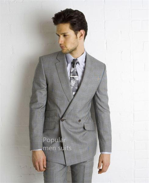2018 Latest Coat Pant Designs Light Gray Men Wedding Suit Slim Fit 2 Piece Double Breasted Tuxedo Custom Made Groom Prom Suits