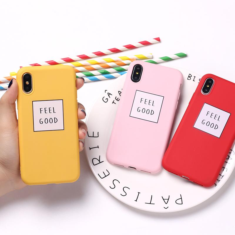 classic fit 780dc d2dc4 Feel Good Vibes Cool Quote Funny Pink Girls Cute Soft TPU Silicone Candy  Case Coque For iPhone 6 6S 5 5S SE 8 8Plus X 7 7Plus