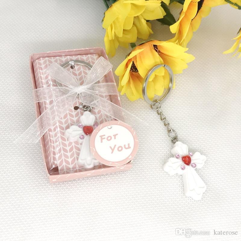 92c48d48a1069 Pink Cross Design Keychain Wedding Favor Saver Key Chain Baby Shower ...
