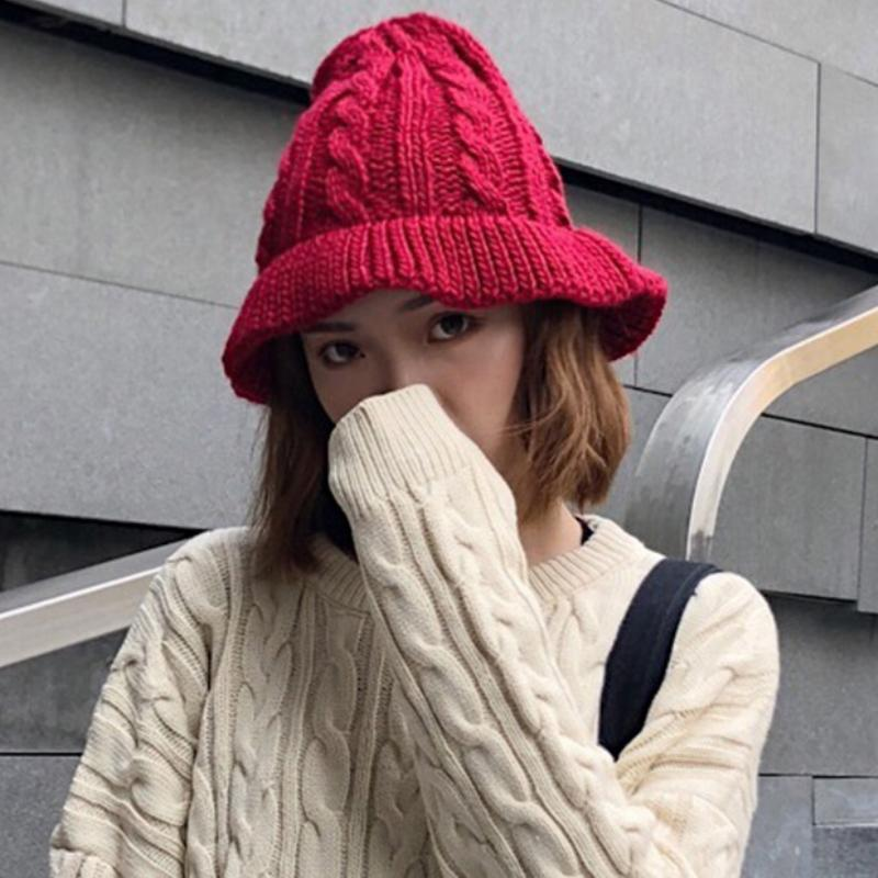 b4a1fdd55a9 HT1908 New Women Autumn Winter Hats Ladies Solid Knitted Hats Casual Female Bucket  Caps Cute Fishing for Women Bucket Hats Cheap Bucket Hats HT1908 New ...