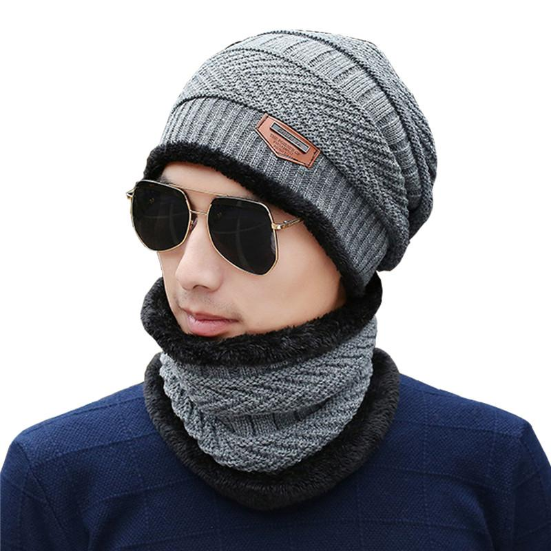 fc91988794f7e 2019 AZUE Mens Fleece Lined Beanie Hat Scarf Set Winter Thick Warm Solid  Skull Caps Scarfs For Men From Chuancai