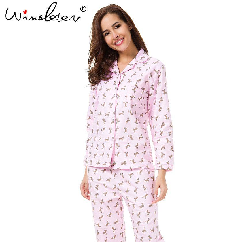 2018 Pink Pajama Sets Women Cute Dachshund Print Set Long Sleeve Top  Elastic Waist Pants Brushed Cotton Pyjamas S7N002 UK 2019 From Bigbangtop a66a04b3dc1a