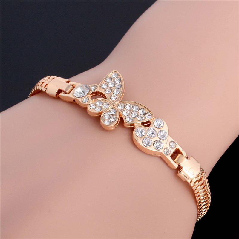 SHUANGR Altın Renk Stellux Avusturyalı Kristal Kelebek ve Kalp Charm Bilezik Kadınlar Düğün JewelryTH2862