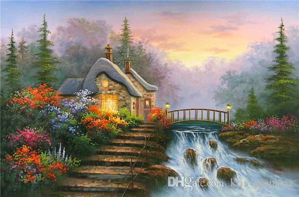 Strass completa praça diamantes bordados paisagem cachoeira diy pintura diamante kit ponto cruz casa mosaico decoratio zxh0532
