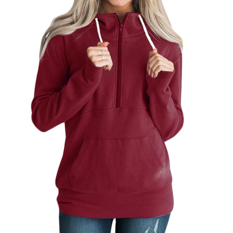 f59528580db 2019 Drawstring Zippers Sweatshirts Women Red Hooded Hoodies Femme  Pullovers Hoody Pockets Autumn Winter Jumpers Tops Plus Size GV975 From  Jamie02