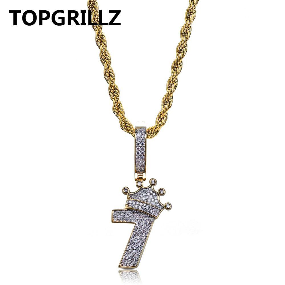 b529bfb49094d Compre TOPGRILLZ Brilhante Coroa Número 7 Colar Pingente Encantos Para Os  Homens De Cobre Cor De Ouro Zircão Cúbico Colar De Hip Hop Presentes Da Jóia  De ...