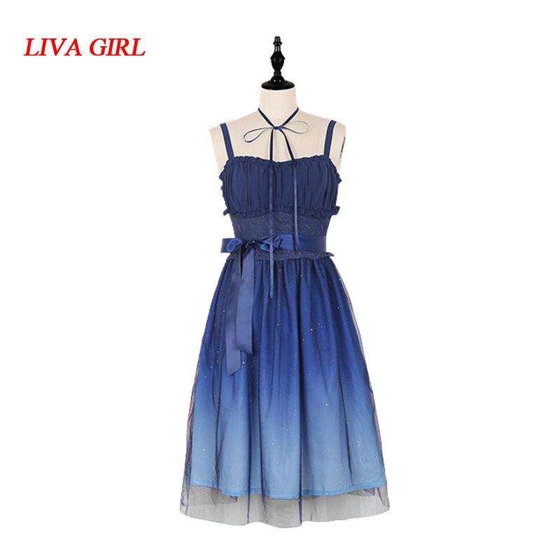 Anime Sweet Navy Blue Starry Gradient Color Fairy JSK Suspender Lolita Dress
