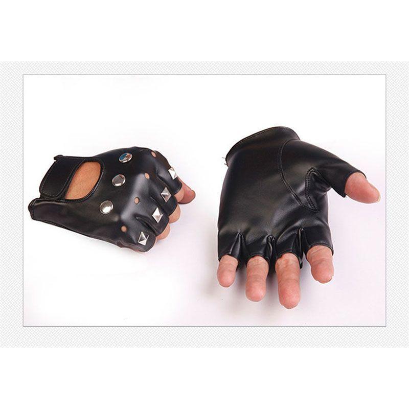 الرجال بو الجلود أصابع قفازات بارد نصف اصبع قفازات رصع المعادن روك الهيب هوب الرقص حزب القوطية الشرير نمط رياضة رياضة قفاز