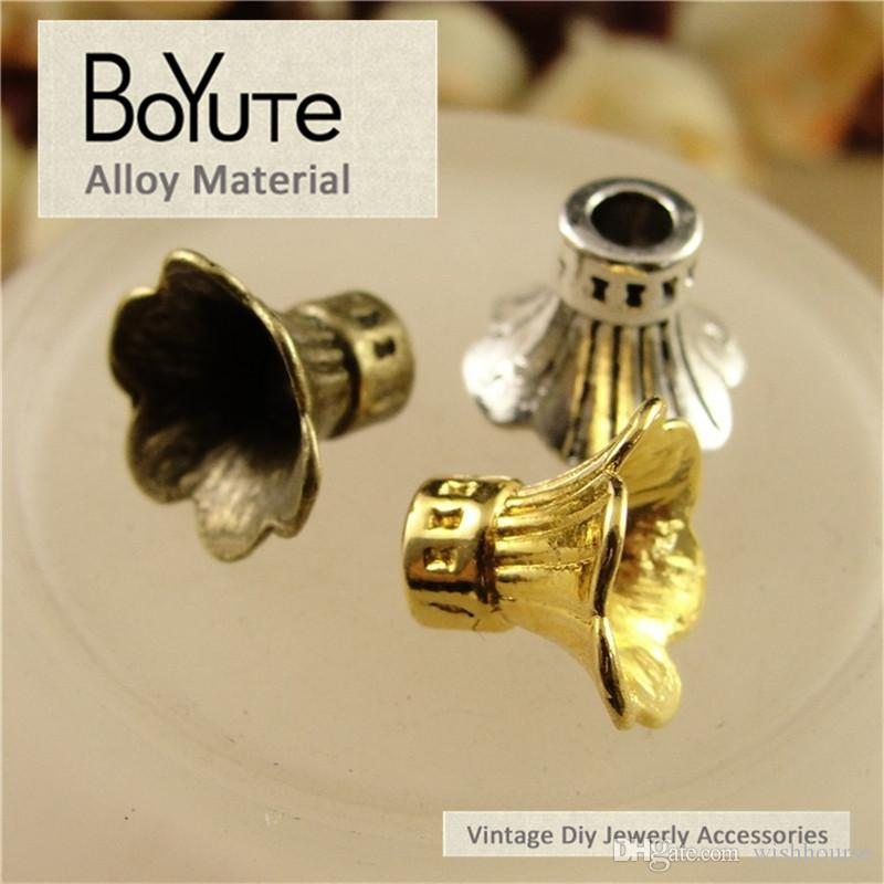 BoYuTe  9*12MM Vintage Zinc Alloy Materials Multicolor Flower Bead Caps for Diy Bracelet Necklace Jewelry Making Accessories