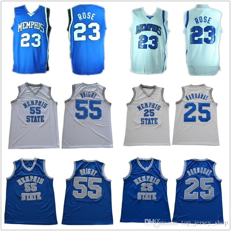 size 40 891ab 50726 Mens Memphis Tigers Jersey #23 Derrick Rose #25 Penny Hardaway 55 Lorenzen  Wright blue white stitched College Basketball Jerseys Cheap