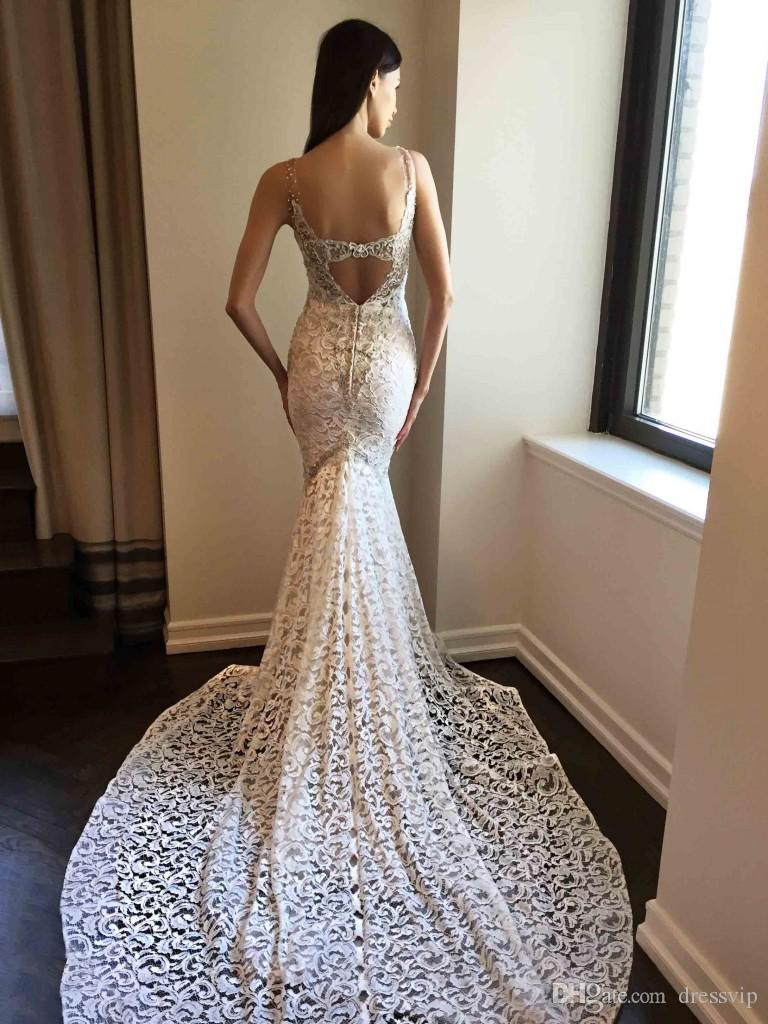 2018 Berta Mermaid Wedding Dresses Deep V Neck Lace Applique Backless Sweep Train Bohemian Wedding Dress Elegant Plus Size Bridal Gowns