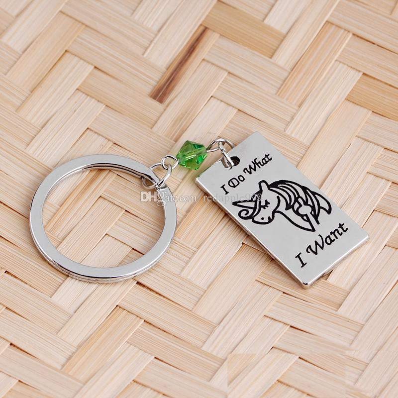 Metal Key Chain Set I Do What/I Want Have A Magical Day Unicorn Engraved Couple Crystal Key Ring Jewelry keychain For Women Men Key Holder