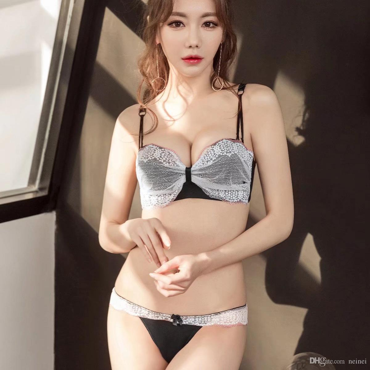 c6069ce01d 2019 Lace Thicken Push Up Intimates One Piece Seamless 1 2 Cup Bra Set Women  Fashion Young Girls Underwear Suits Transparent Panties From Neinei
