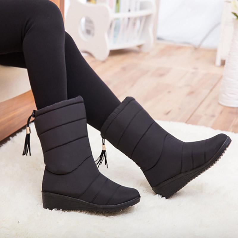 2f1daf2acf1 Masorini Women Winter Boots Waterproof Warm With Fur Mid Calf Snow Boots  Female Black Non Slip Wedges Shoes Woman W 171 Wedges Shoes Designer Shoes  From ...
