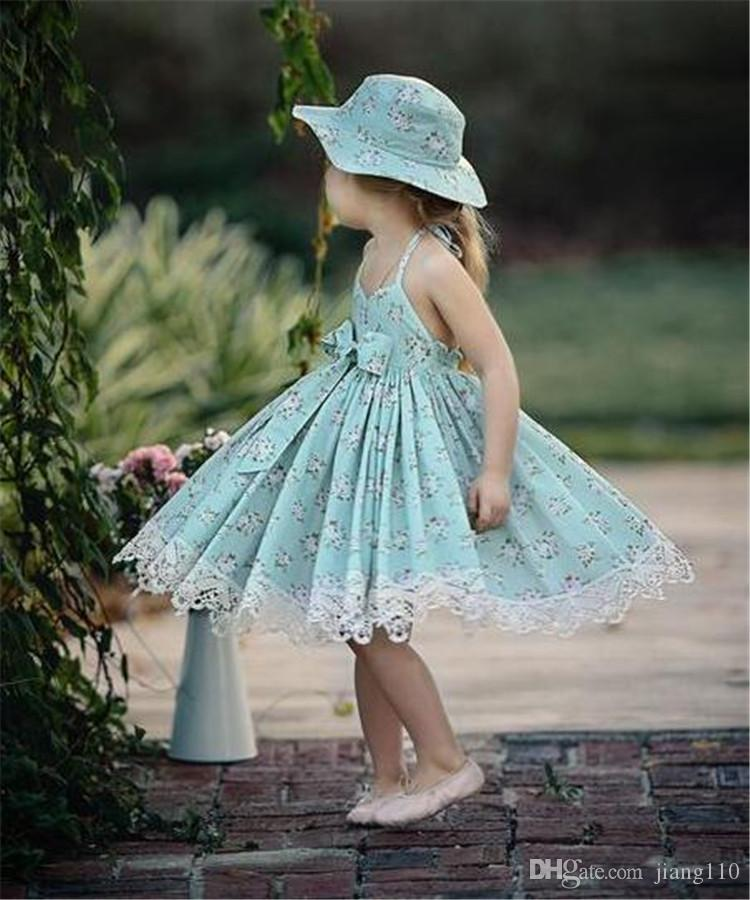 Toddler Girls Dress Summer 2018 Vintage Floral Print Party Wedding Special Princess kids dresses for Girls Bow Lace Costume Casual Clothes
