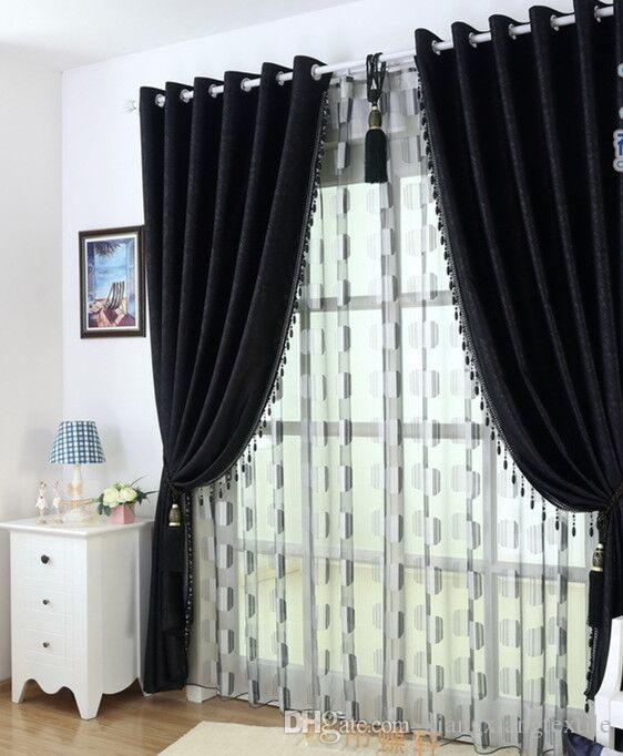 2020 Thick Black And White Chenille Curtains Upscale ...