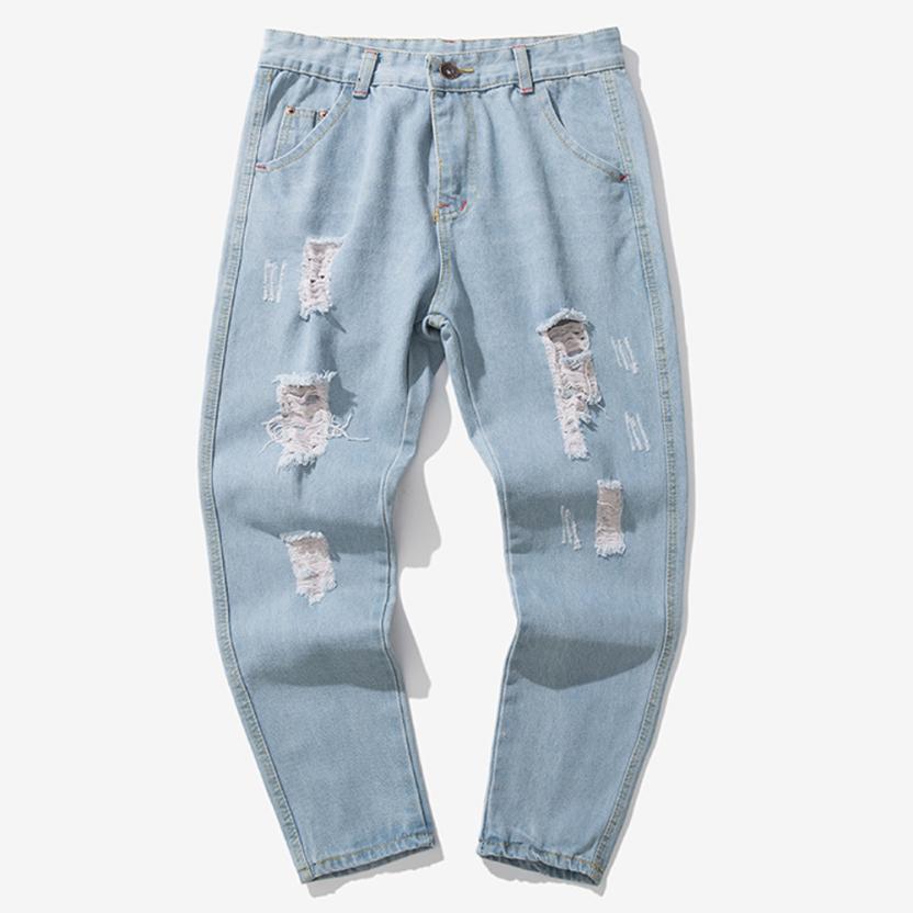 Men Casual Autumn Denim Jeans Casual Plus Size Hole Hip Pop Trousers ... d3fe79cdb4d4