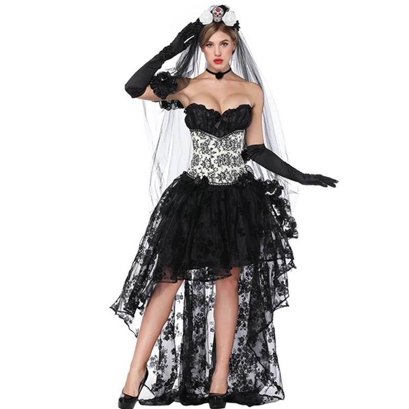 46bf61ba9e 2019 Sexy Steampunk Gothic Corset With Floral Lace Irregular Skirt Bustier  Goth Tops Lace Maxi Skirt Shows Cosplay Party Stage Costume From Daylight