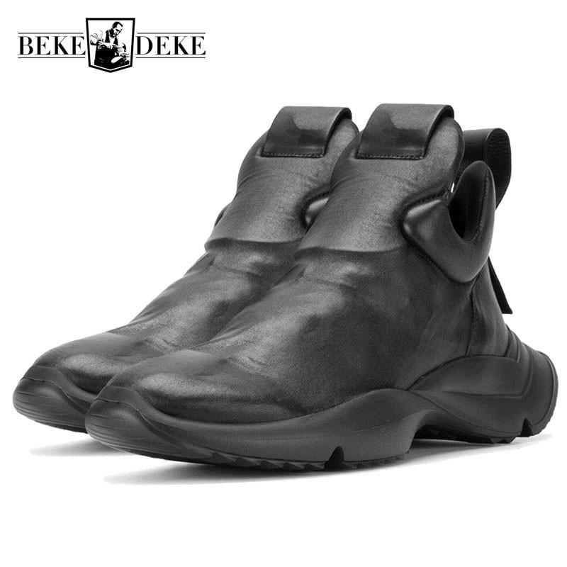 e67ab76dd0d Mens Personality Slip On Trainer Sneakers Luxury Genuine Leather Punk Thick  Platform Shoes Male Fashion Hip Hop Footwear Loafers Best Shoes Italian  Shoes ...