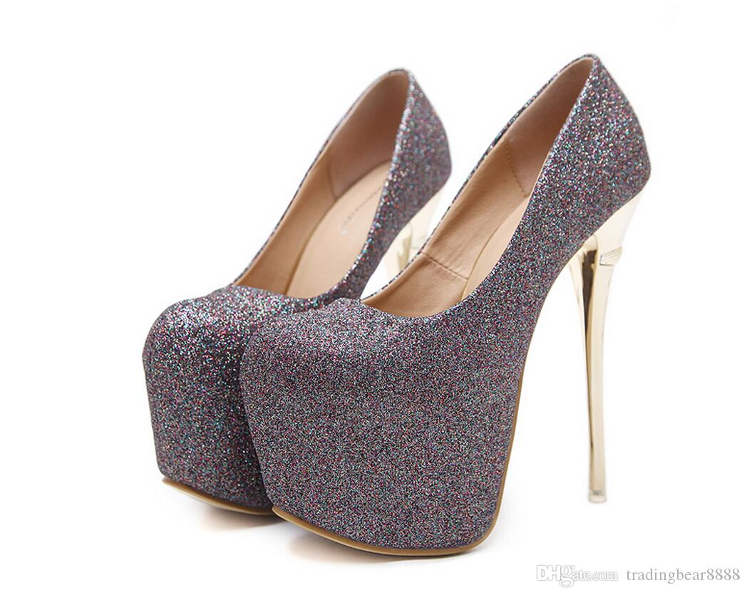 2018 New Sexy banquet stage night store sequins 16cm super heel metal electroplating thin and round head women's single shoes
