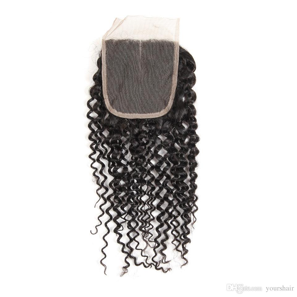 Brazilian Peruvian Mongolian Malaysian Cambodian Indian Kinky Curly Remy human Hair Closure Hair Extension