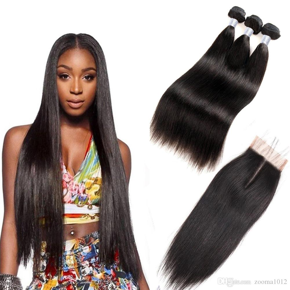 7A Brazilian Straight Virgin Hair Bundles With Lace Closure Unprocessed Peruvian Natural Black Human Hair Extensions Weave With Closure