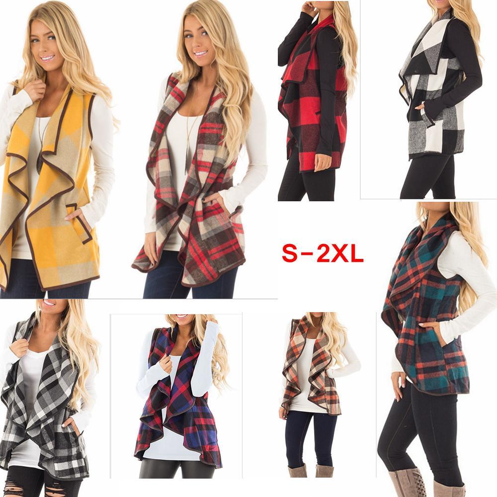 16714c5d6 Las mujeres de la solapa de la tela escocesa Cardigan de bolsillo Chaleco  Abrigo Irregular Compruebe la chaqueta sin mangas Frente abierto Blusa ...