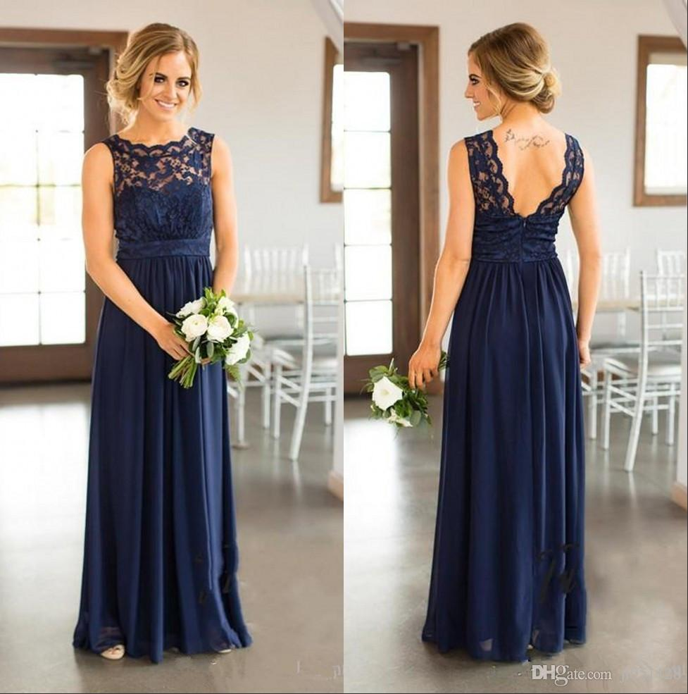 6cd56f08bcef Navy Long Bridesmaid Dresses 2018 Cheap Country For Weddings Party ...