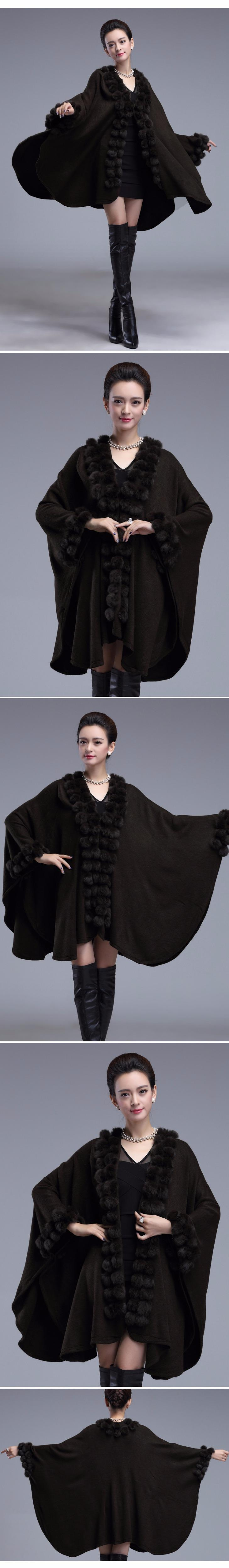 SC54 Para Mujer Capos Negros Poncho 2018 Invierno Bola de Piel de Conejo Chal Gran Tamaño Suéter de Punto Capa de Cachemira Larga Italiana Largo