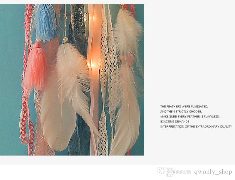 Dreamcatcher With Light Big Lace Dream Catcher with Clouds & Pompom Home Wall Hanging Decor Pendant for Baby Kid's Bedroom