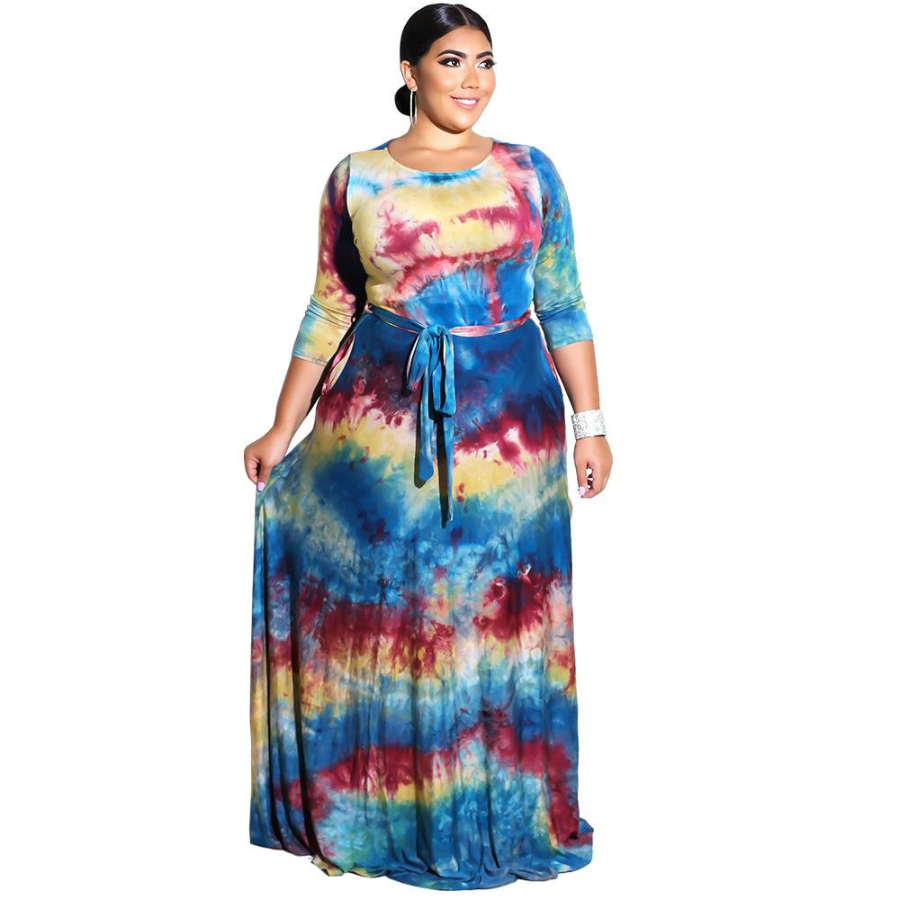 Ladies Maxi Dresses Summer Autumn 2018 Plus Size CHEAP Long Boho Beach  Dress F0262 L-6XL Long Sleeve Waist Belt