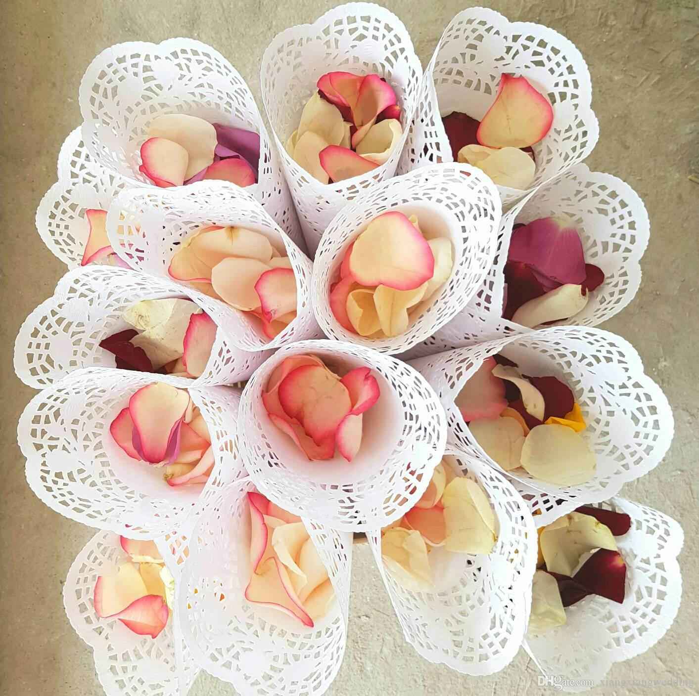 Lace Paper Petal Cones Wedding Candy Boxes Confetti Cones Flower