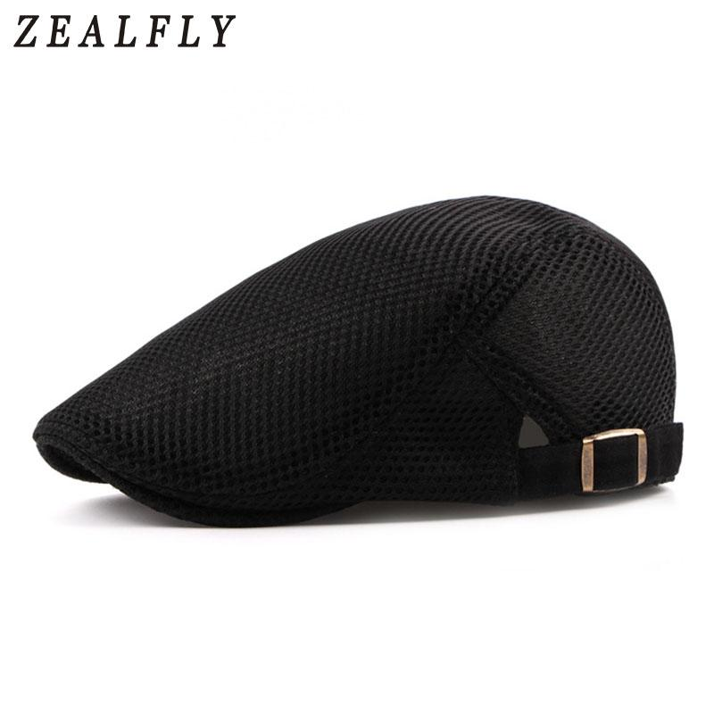 68909c4b348f 2019 Summer Mesh Beret Hat For Men Women Solid Casual Ivy Flat Cap Cabbie  Newsboy Style Gatsby Hat Adjustable Breathable Net Caps From Strips, ...