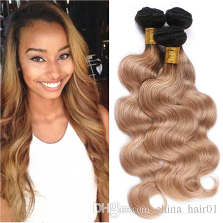 #1B/27 Black and Honey Blonde Ombre Virgin Human Hair Weave Bundles Body Wave 3Pcs Lot Ombre Light Brown Peruvian Hair Weft Extensions