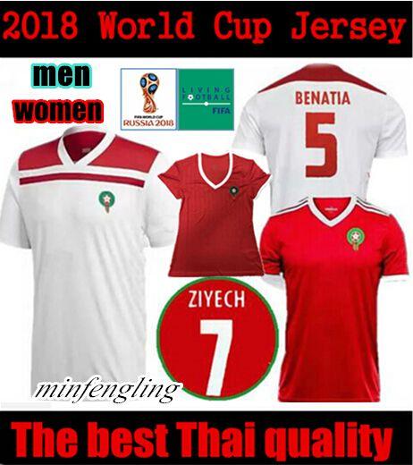 dbd594461 Compre Copa Do Mundo De 2018 Marroquino Home Homens Mulheres Vermelho Camisa  De Futebol De Marrocos Camisa De Futebol Nacional De Marrocos Longe Camisa  De ...