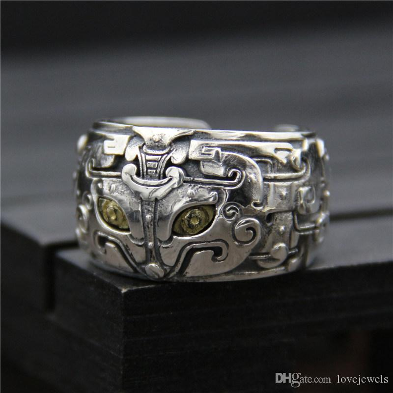 6a22ecf90 2019 925 Sterling Silver Ring Fashion Personality Gluttonous God Beast Mens Ring  Thailand Silver Vintage Alternative Open Ring Hip Hop Jewelry From ...