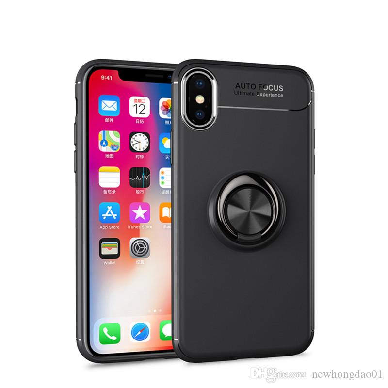 c968cbee51a9b Luxury Shockproof TPU Case For Iphone XS Max 8 Plus 7 Plus Metal Ring  Holder Combo Phone Cover For Iphone 8 7 6s Wholesale Cell Phone Cases  Designer Cell ...