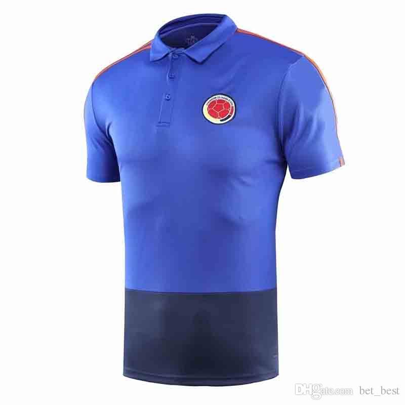 4a0204e6170 2019 Colombia 2018 Polo Jersey Cuadrado James Falcao Valderrama 2018  Colombia Polo Soccer Jersey 2018 World Cup Training Polo Football Shirt  From Bet_best, ...