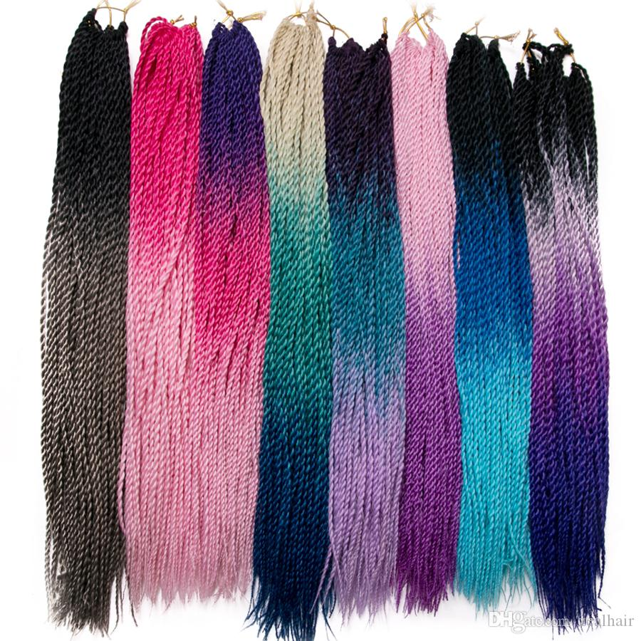 VERVES 24 inch Ombre Senegalese Twist Hair 30 Roots/pack Crochet braids Synthetic Braiding Hair for Women colorful grey,bonde,pink,brown