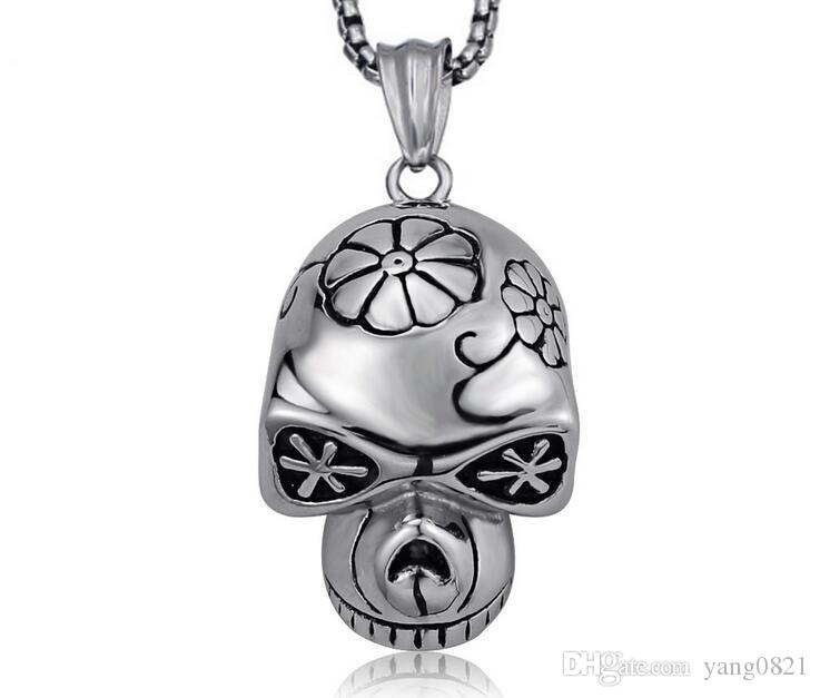 Men fashion Skeleton pendent necklace titanium steel retro personality skull accessory Contracted fashionable bf gifts jewelry