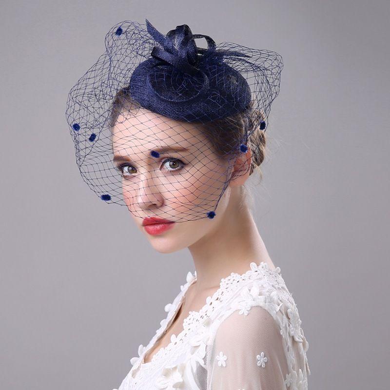 JaneVini Black Birdcage Net Bridal Wedding Hats Fascinator Face Veils Flower with Hairpin Bride Veils Wedding Hats for Women Mariage