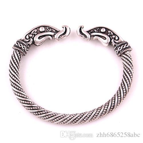 VB300019 El Yapımı antika gümüş / bronz Fenrir Pengan Kurtlar İskandinav Viking Kurt / Raven / Ejderha Bilezik Bilezikler