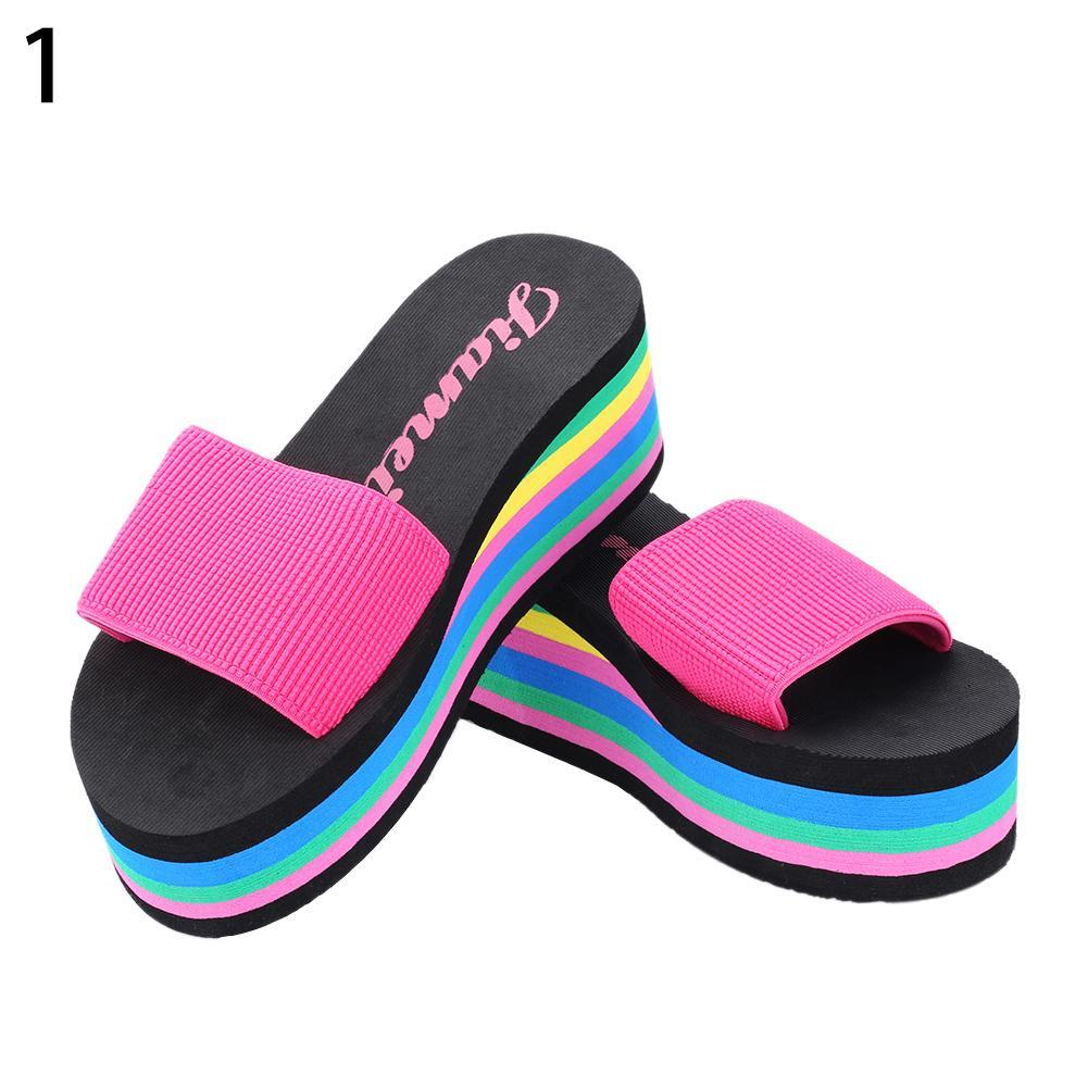 Women S Summer Rainbow Color Platform Wedge Beach Slippers Sandals High  Heels White Boots Shoes Uk From Zehanshoes
