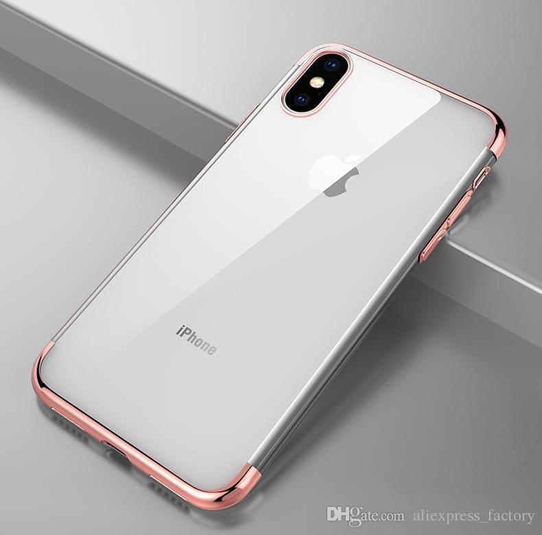 3 in 1 caso copertura trasparente Placchi placcatura TPU del gel di gomma di silicone trasparente iPhone 11 Pro Max XS XR X 8 7 6 6S Plus Anti-colpo