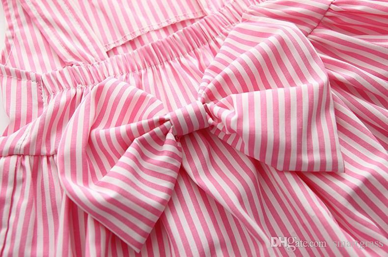 Rayas 2 pantalones pieza del vestido fijó para bebés de algodón ropa de la muchacha linda del verano cortos sin respaldo mini vestido Establece 18050401