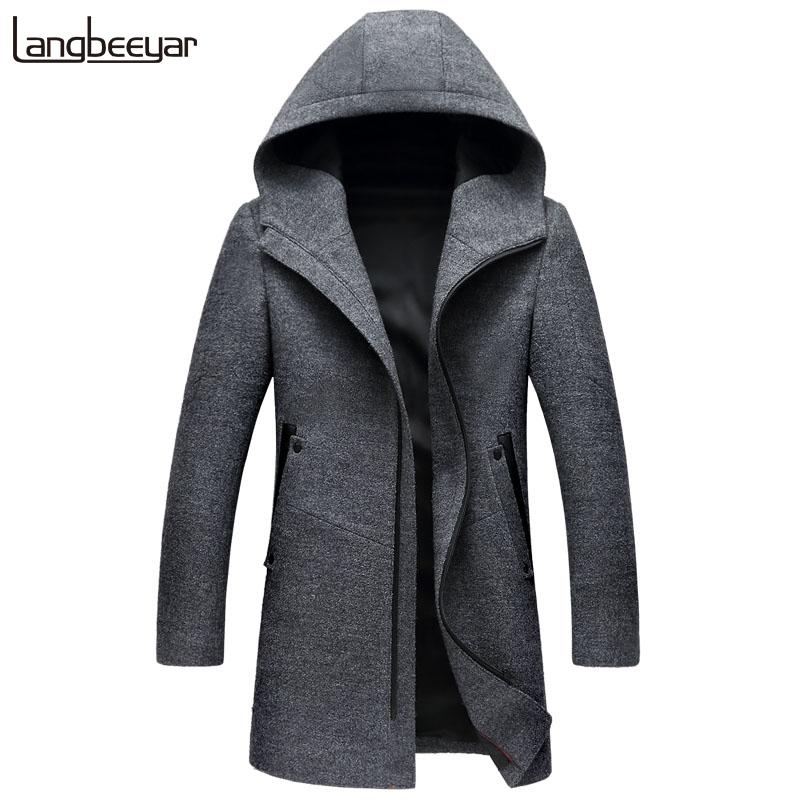 New Fashion Brand-Clothing Wool & Blends Jacket Men Hooded Business Casual Mens Peacoat Top Grade Long Winter Mens Coats
